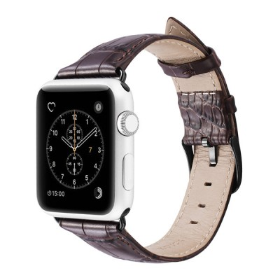 Dux Ducis Leather Croco Band for Apple Watch 38-40mm dark brown