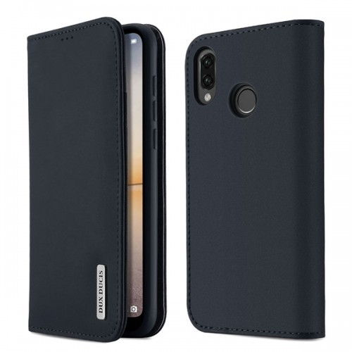 DUX DUCIS Wish Genuine Leather Bookcase type case for Huawei P20 Lite black