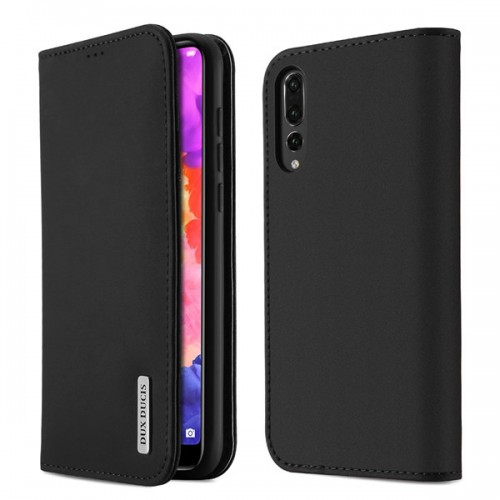 DUX DUCIS Wish Genuine Leather Bookcase type case for Huawei P20 black
