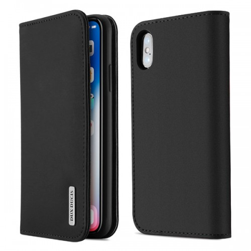DUX DUCIS Wish Genuine Leather Bookcase type case for iPhone Xs Max black