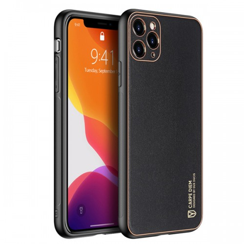 Dux Ducis Yolo elegant case made of soft TPU and PU leather for iPhone 11 Pro black