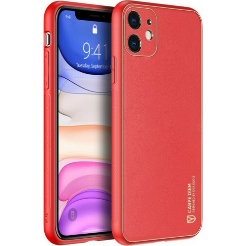 Dux Ducis Yolo elegant case made of soft TPU and PU leather for iPhone 11 red