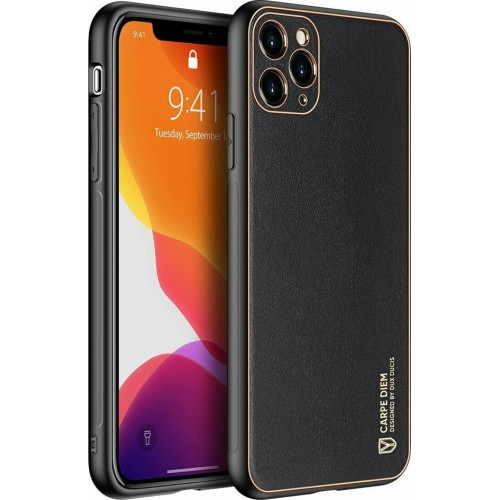 Dux Ducis Yolo elegant case made of soft TPU and PU leather for iPhone 12 Pro black
