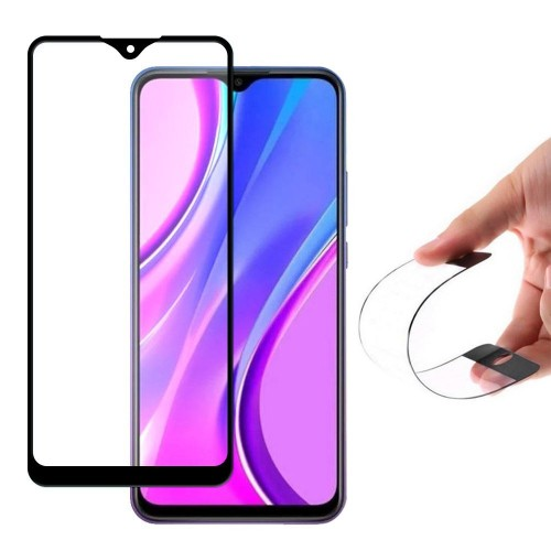 Wozinsky Full Cover Flexi Nano Glass Hybrid Screen Protector με frame για Xiaomi Redmi Note 9 μαύρο