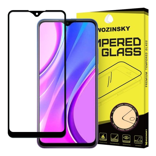Wozinsky Tempered Glass Full Glue Super Tough Screen Protector Full Coveraged with Frame Case Friendly for Xiaomi Redmi 9 black