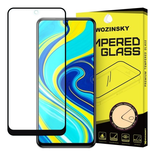 Wozinsky Tempered Glass Full Glue Super Tough Screen Protector Full Coveraged με Frame Case Friendly για Xiaomi Redmi Note 9 Pro / Redmi Note 9S μαύρο