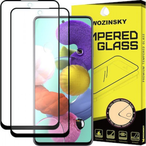 Wozinsky 2x Προστασία Οθόνης Full Glue Super Tough Screen Protector Full Coveraged with Frame Case Friendly for Samsung Galaxy A71 Μαύρο