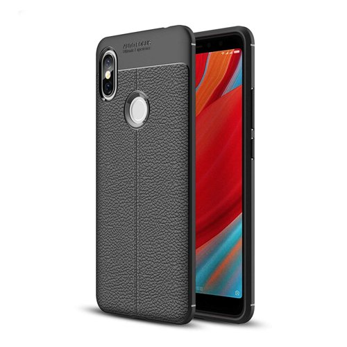 Litchi Pattern Flexible Cover TPU Leather Case for Xiaomi Redmi S2 Μαύρο