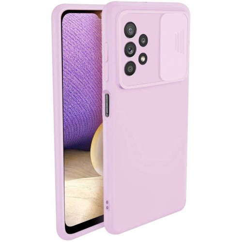 Nexeri Silicone Case with Camera Lens Privacy Slider Cover for Samsung Galaxy A32 4G purple