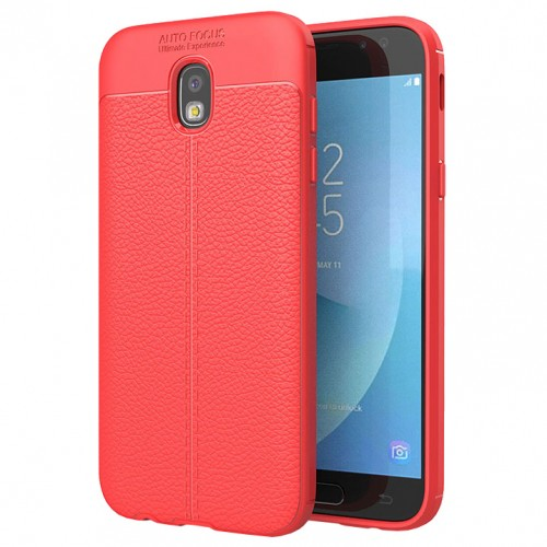 Litchi Pattern Flexible Cover TPU Θήκη για Samsung Galaxy J3 2017 J330 Κόκκινη