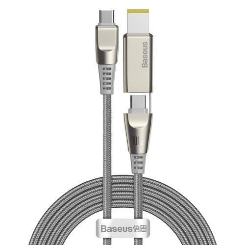 Baseus 2in1 USB - USB Typ C data charging cable / Lenovo (square plug) DC Adapter laptop plug 2 m 100 W 5 A gray (CA1T2-B0G)