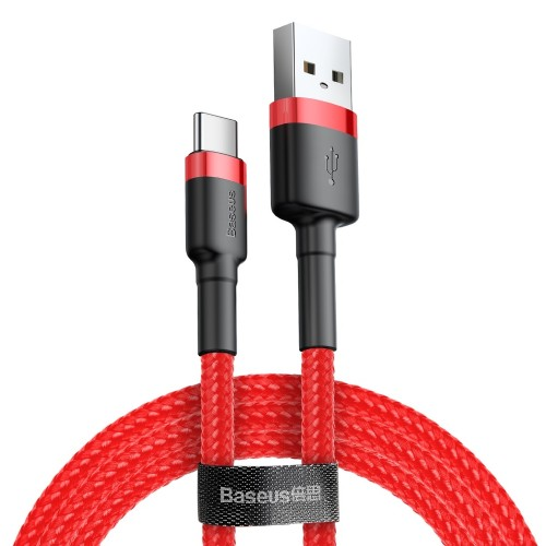 Baseus Cafule Cable Durable Nylon Braided Wire USB / USB-C QC3.0 2A 2M red (CATKLF-C09)