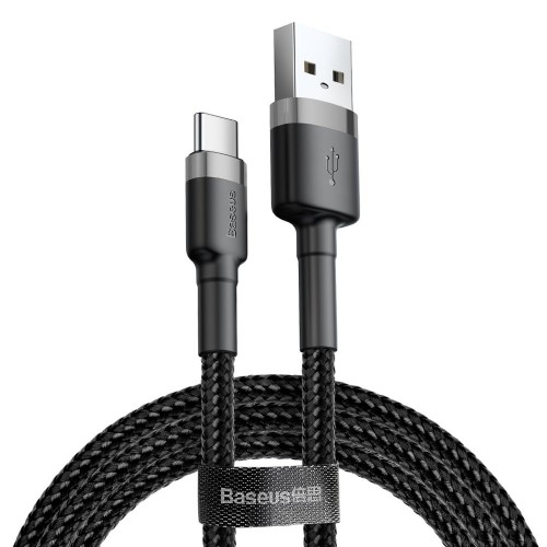Baseus Cafule Cable Durable Nylon Braided Wire USB / USB-C QC3.0 2A 3M black-gray (CATKLF-UG1)