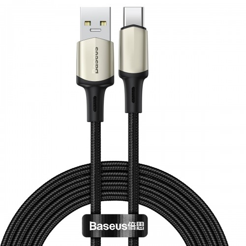 Baseus Cafule Cable Nylon Braided USB - USB Type C cable VOOC Quick Charge 3.0 5 A 2 m black (CATKLF-VB01)