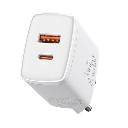 Baseus Compact quick charger USB Type C / USB 20 W 3 A Power Delivery Quick Charge 3.0 white (CCXJ-B02)