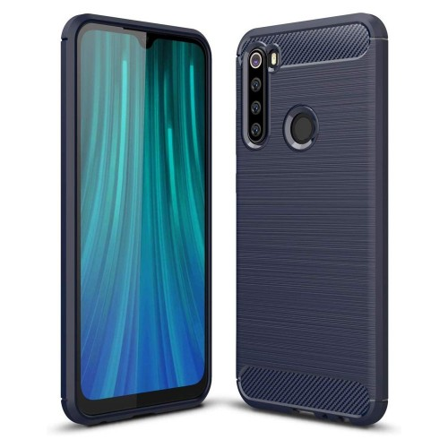 Carbon Brushed Back Cover Μπλε (Redmi Note 8)