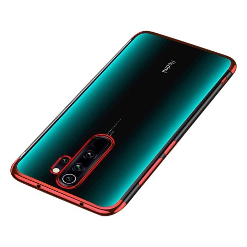 Clear Color Case Gel TPU Electroplating frame Cover for Xiaomi Redmi 9 red