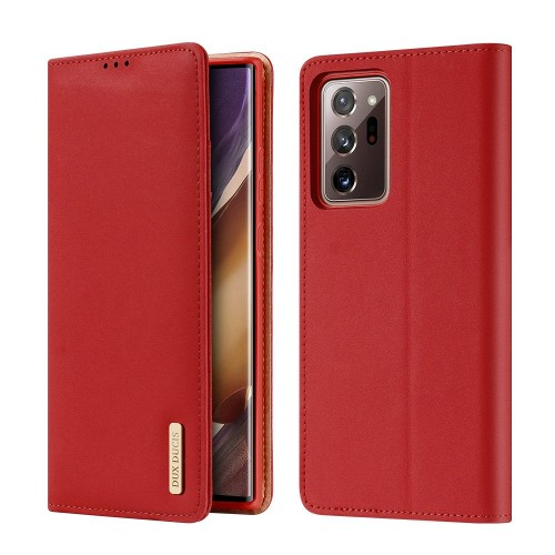 DUX DUCIS Wish Genuine Leather Bookcase type case for Samsung Galaxy Note 20 red