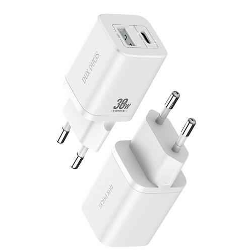Dux Ducis C80 PPS quick charger Super Si Power Delivery 30W + Quick Charge 18W USB / USB Type C white