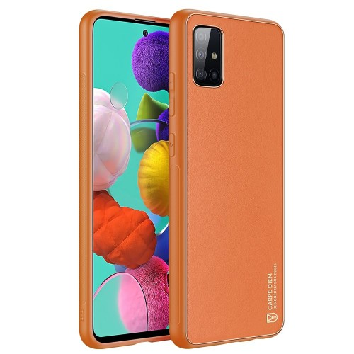 Dux Ducis Yolo elegant case made of soft TPU and PU leather for Samsung Galaxy A51 orange