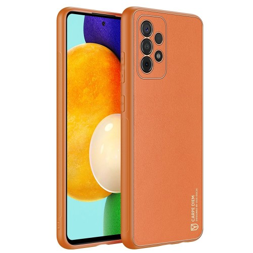 Dux Ducis Yolo elegant case made of soft TPU and PU leather for Samsung Galaxy A52 5G / A52 4G orange