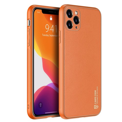 Dux Ducis Yolo elegant case made of soft TPU and PU leather for iPhone 11 Pro Max orange