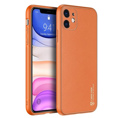Dux Ducis Yolo elegant case made of soft TPU and PU leather for iPhone 11 orange