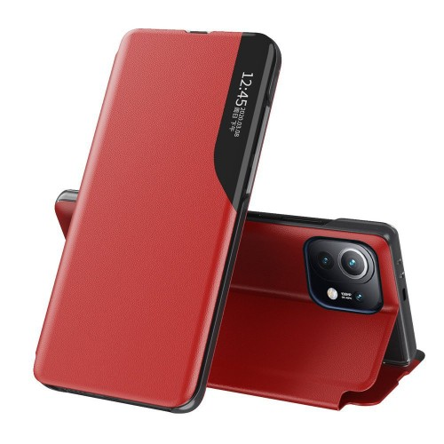 Eco Leather View Case elegant bookcase type case with kickstand for Xiaomi Mi 11 red