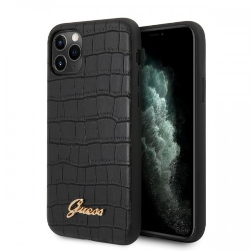 Guess Croco Back Cover Δερματίνης Μαύρο (iPhone 11 Pro)