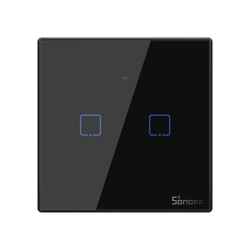 Sonoff T3EU2C-TX two-channel touch Wi-Fi wireless wall smart switches RF 433 MHz black (IM190314019)