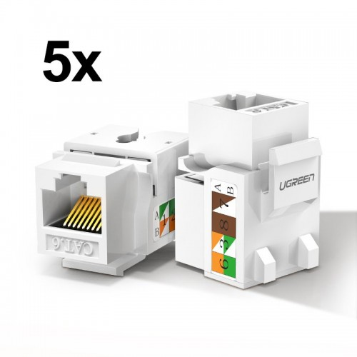 Ugreen 5x unshielded network modules Ethernet Cat 6 8P8C RJ45 1000 Mbps 568A/B white (80179 NW143)