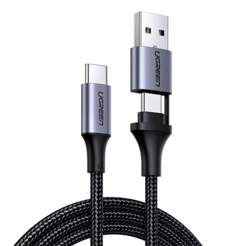 Ugreen USB Type C - USB Type C / USB cable + adapter 5 A Quick Charge 3.0 480 Mbps 1 m black (70416 US314)