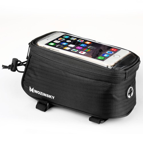 Wozinsky Bike Front Storage Bag Bicycle Frame Phone Case 6,5 inch max 1,5L black (WBB2BK)