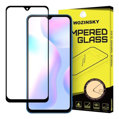 Wozinsky Tempered Glass Full Glue Super Tough Screen Protector Full Coveraged with Frame Case Friendly for Xiaomi Redmi 9A / Redmi 9C  black