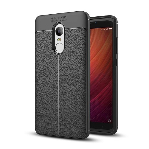 Hurtel Litchi Pattern Flexible Cover TPU Θήκη για Xiaomi Redmi 5 Plus μαύρο