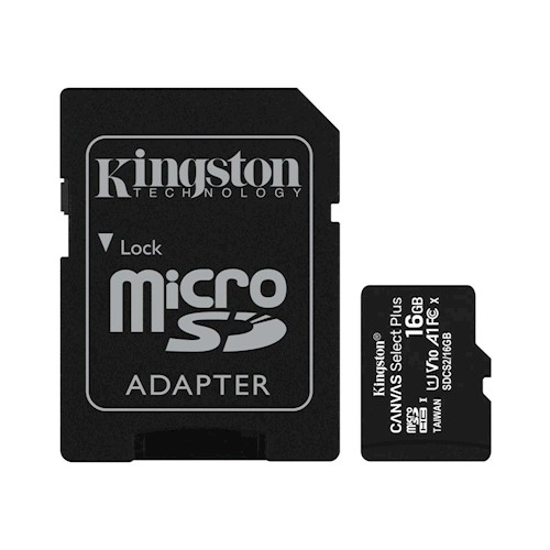 Kingston memory card microSDHC Canvas Select Plus (16GB | class 10 | UHS-I | 100 MB/s) + adapter